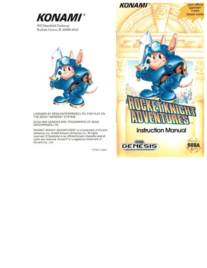 File:Rocket Knight Adventures MD US Manual.pdf - Sega Retro