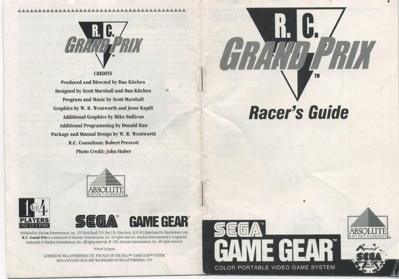 File:R C  Grand Prix GG US Manual pdf - Sega Retro