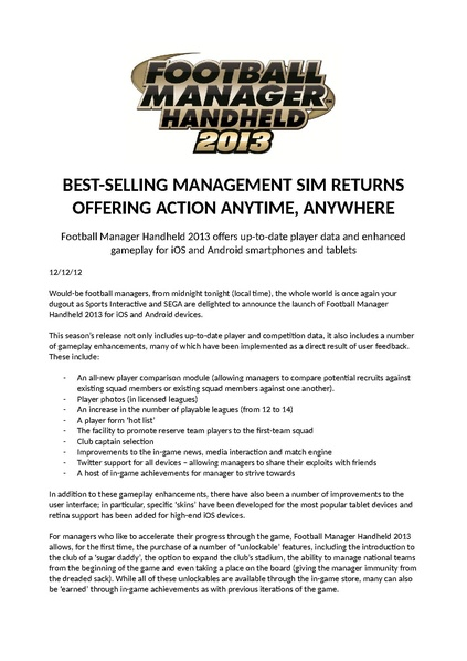 File:FMH2013 launch announcement pdf - Sega Retro