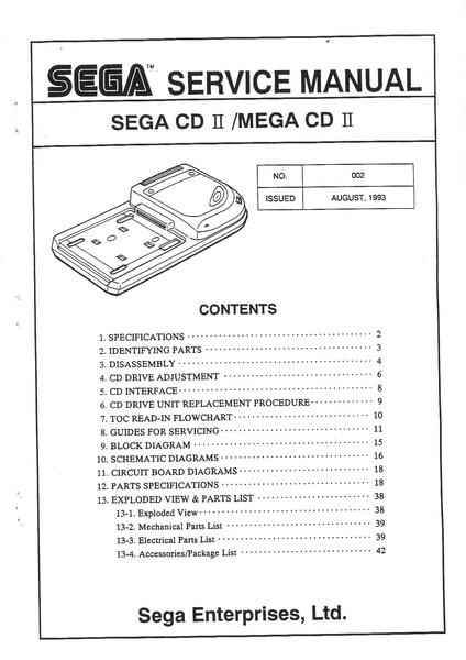file sega service manual sega cd ii mega cd ii 002 august rh segaretro org sega cd manual pdf sega mega cd 2 manual